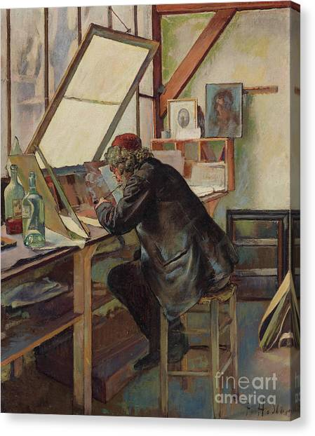 Hard Hat Canvas Print - The Engraver Marcellin Desboutin by Ferdinand Hodler