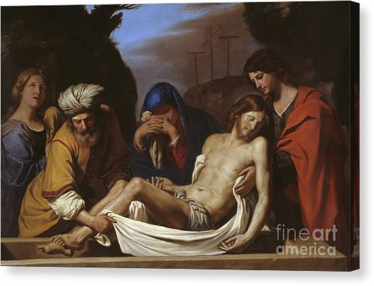 Nude Mom Canvas Print - The Entombment by Guercino