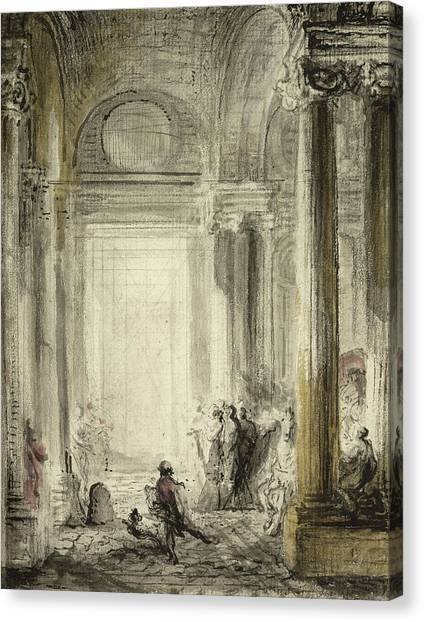 Neoclassical Art Canvas Print - The Entrance Of The Academy Of Architecture At The Louvre by Gabriel de Saint-Aubin