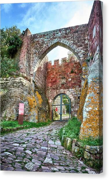The Entrance To The Monastery Of Escornalbou Canvas Print