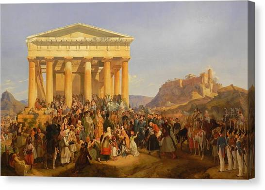 The Parthenon Canvas Print - The Entry Of King Othon Of Greece In Athens by Peter von Hess