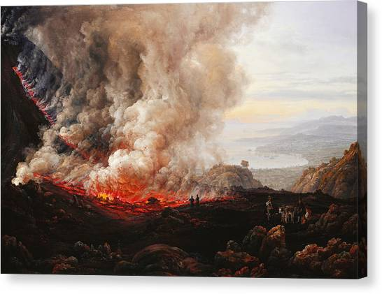 Mount Vesuvius Canvas Print - The Eruption Of Vesuvius by Johan Christian Dahl