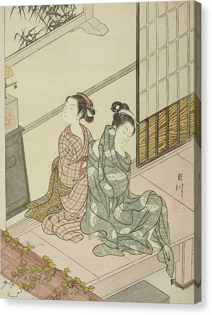 Suzuki Canvas Print - The Evening Bell Of The Clock  by Suzuki Harunobu