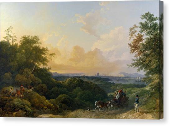 James Franco Canvas Print - The Evening Coach, London In The Distance by Treasury Classics Art