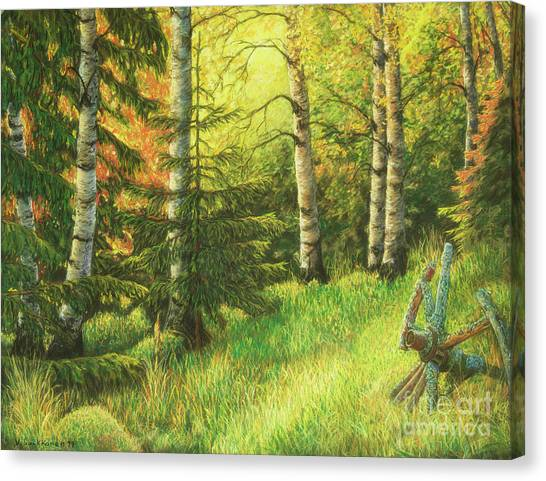 Mossy Forest Canvas Print - The Evening Light by Veikko Suikkanen