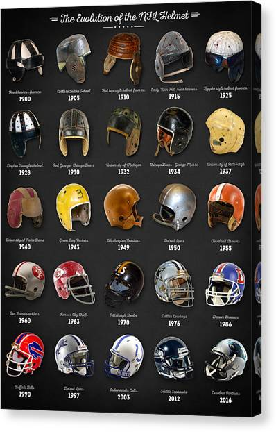 Indianapolis Colts Canvas Print - The Evolution Of The Nfl Helmet by Zapista
