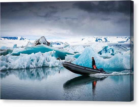 Vatnajokull Glacier Canvas Print - The Explorer - Glacier Lagoon In Iceland by Matthias Hauser