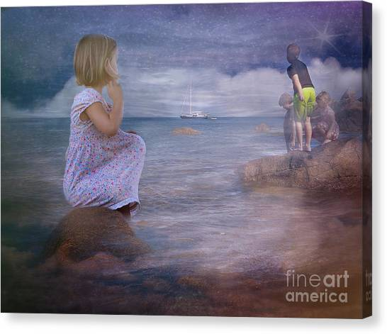 The Explorers Underneath The Night Sky At The Seashore Canvas Print