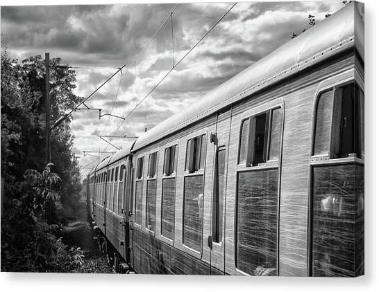Steam Trains Canvas Print - The Express Bw by Martin Newman