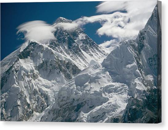Mount Everest Canvas Print - The Extreme Terrain Of Mount Everest by Michael Klesius