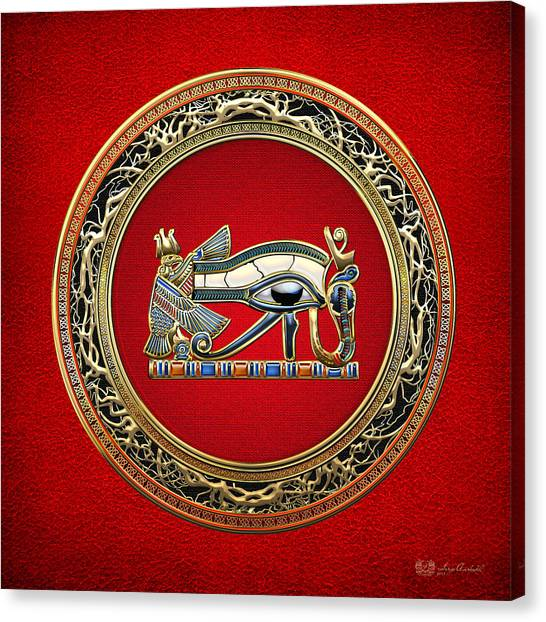 Eye Canvas Print - The Eye Of Horus On Red by Serge Averbukh