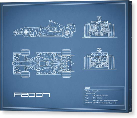 Formula 1 Canvas Print - The F2007 Gp Blueprint by Mark Rogan