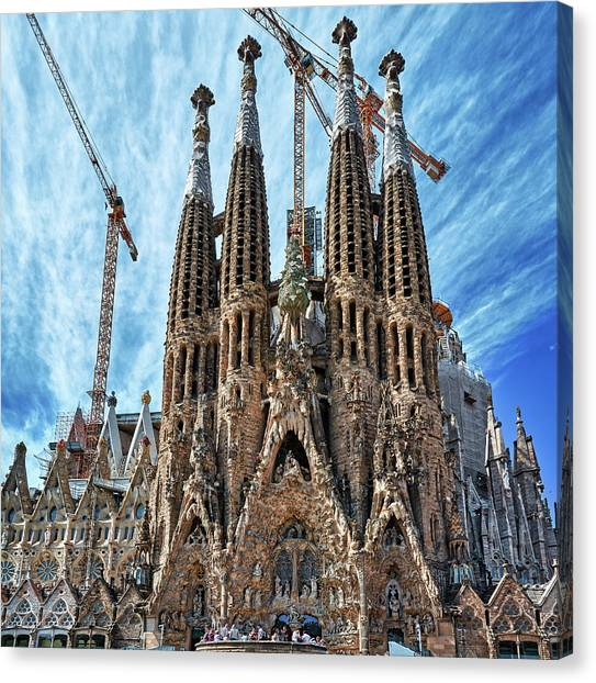 The Facade Of The Sagrada Familia Canvas Print