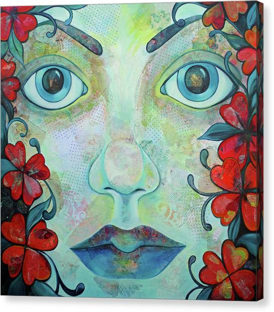 Greek Canvas Print - The Face Of Persephone I by Shadia Derbyshire