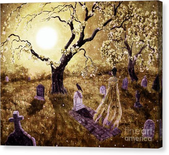 Poe Canvas Print - The Fading Memory Of Lenore by Laura Iverson