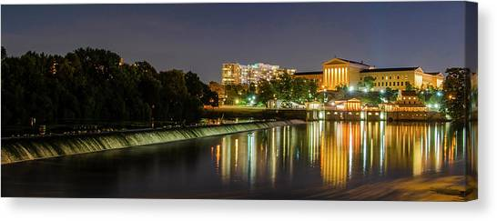 Canvas Print featuring the photograph The Fairmount Dam And Art Museum At Night Panorama by Bill Cannon