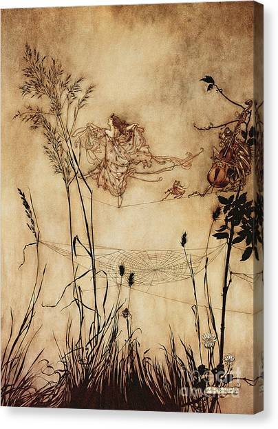 Spider Web Canvas Print - The Fairy's Tightrope From Peter Pan In Kensington Gardens by Arthur Rackham