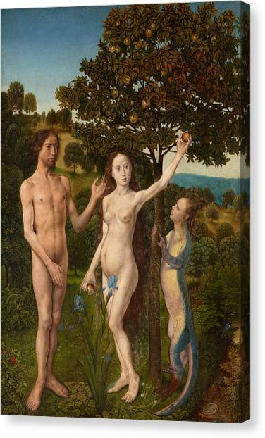 Early Christian Art Canvas Print - The Fall Of Man And The Lamentation by Hugo van der Goes