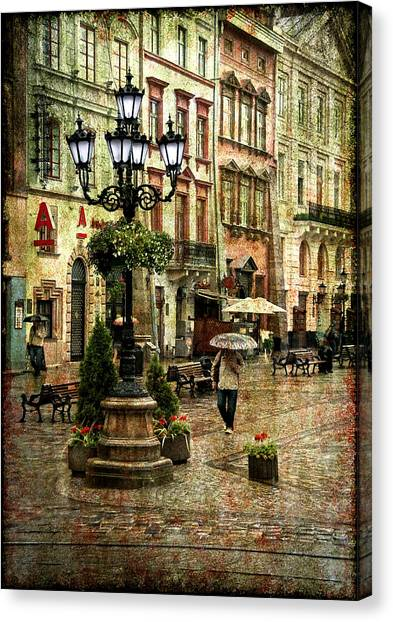 Street Lamp Canvas Print - The Fall Of Spring by Evelina Kremsdorf
