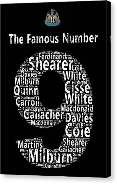 Word Art Canvas Print - The Famous Number 9 - Newcastle United Wordart by Stew Lamb