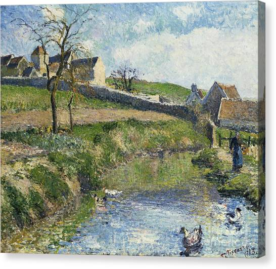 Camille Canvas Print - The Farm At Osny by Camille Pissarro