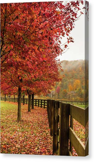 The Farm In Fall Canvas Print by Sallie Woodring