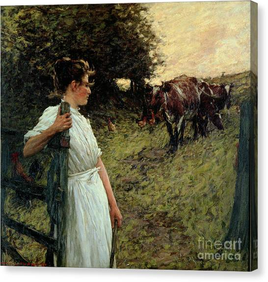 Gates Canvas Print - The Farmer's Daughter by Henry Herbert La Thangue