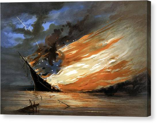 Battleship Canvas Print - The Fate Of The Rebel Flag by War Is Hell Store