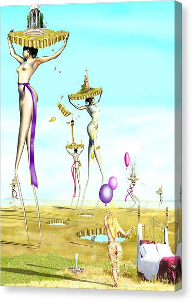 The Female Deity Sending Out Her Minions To Gather Male Religious Symbols One Canvas Print by Leo Malboeuf