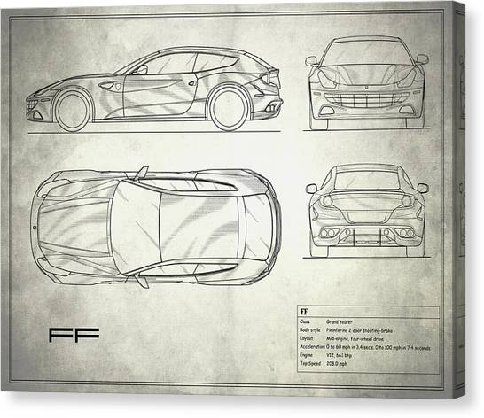 Car blueprint canvas prints page 5 of 25 fine art america car blueprint canvas print the ff blueprint in white by mark rogan malvernweather Gallery