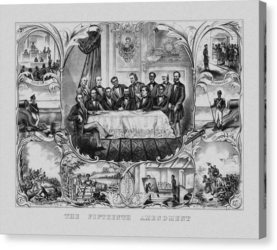 U. S. Presidents Canvas Print - The Fifteenth Amendment  by War Is Hell Store
