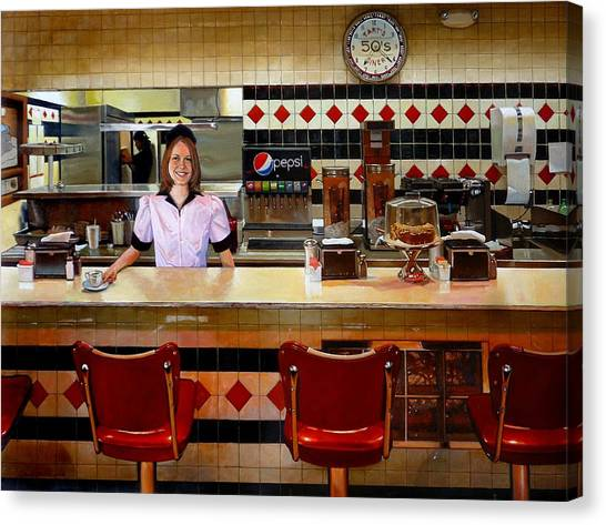 The Fifties Diner Canvas Print by Doug Strickland