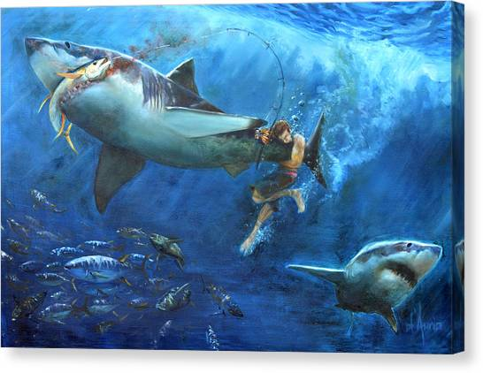 Spearfishing Canvas Print - The Fight by Tom Dauria