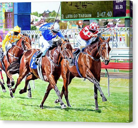 Race Horses Canvas Print - The Final Stretch by David Lloyd Glover