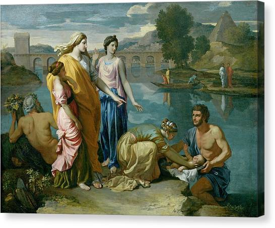 The Nile Canvas Print - The Finding Of Moses by Nicolas Poussin