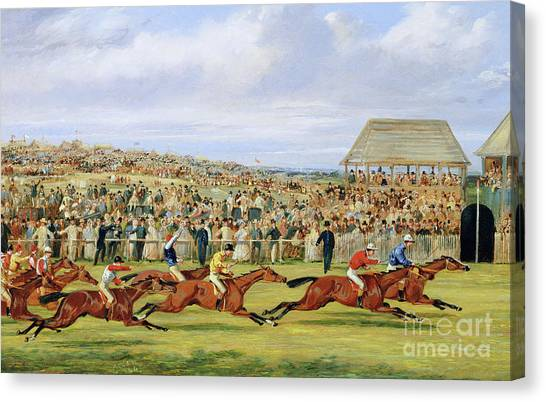 Finish Line Canvas Print - The Finish Of The 1862 Derby, 1862 by Samuel Henry Alken