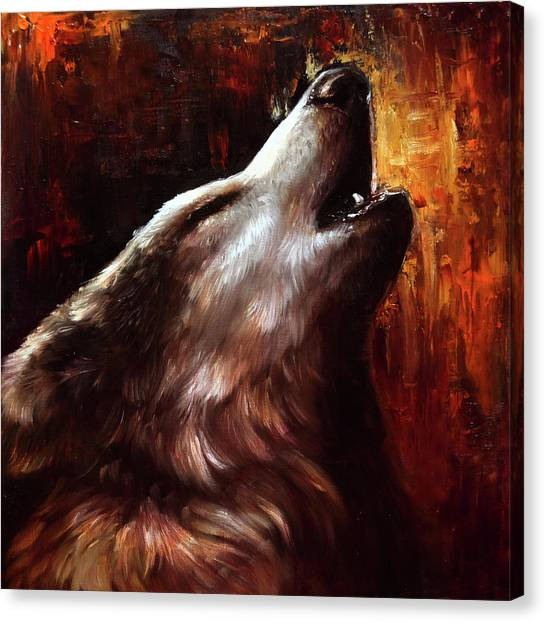 Howling Wolves Canvas Print - The Fire Within by Danielle Trudeau