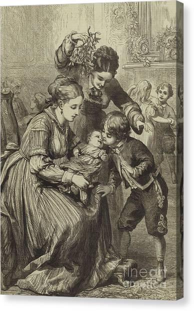 Mistletoe Canvas Print - The First Kiss Under The Mistletoe by David Henry Friston