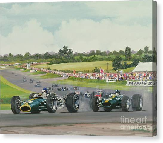 Motoring Canvas Print - The First Lap - 1967, British Grand Prix At Silverstone by Richard Wheatland