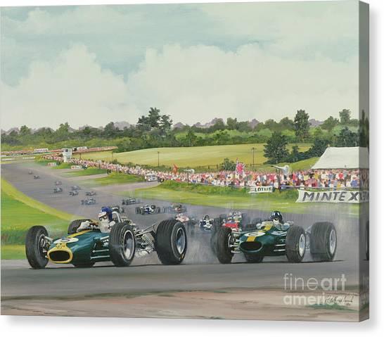 Formula 1 Canvas Print - The First Lap - 1967, British Grand Prix At Silverstone by Richard Wheatland
