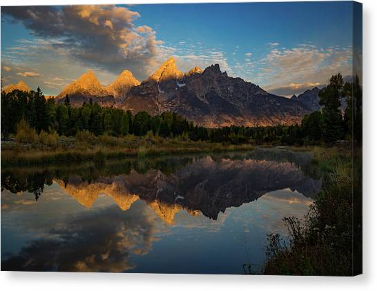 Glacier National Park Canvas Print - The First Light by Edgars Erglis