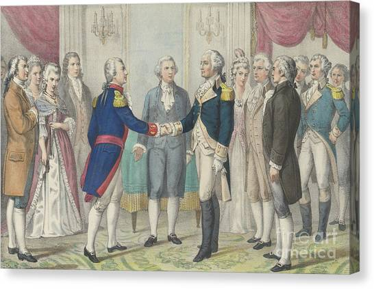 New England Revolution Canvas Print - The First Meeting Of Washington And Lafayette In Philadelphia, August 3rd 1777 by Currier and Ives