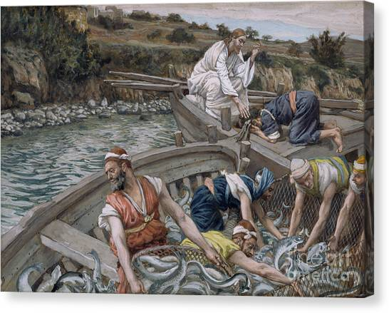 Angling Canvas Print - The First Miraculous Draught Of Fish by Tissot