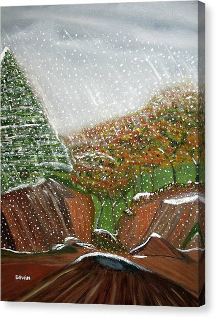 The First Snow Canvas Print by Edwin Long
