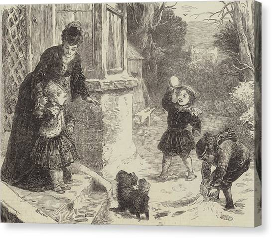 Snowball Canvas Print - The First Snowball by Horace Petherick