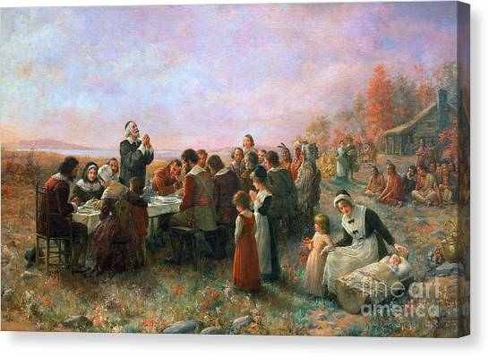 Thanksgiving Canvas Print - The First Thanksgiving by Granger