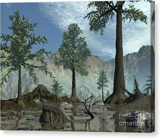 Centipedes Canvas Print - The First Trees Begin To Populate Earth by Walter Myers