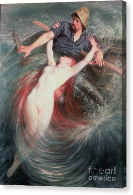 Mermaid Canvas Print - The Fisherman And The Siren by Knut Ekvall