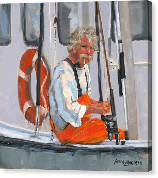 Fishing Poles Canvas Print - The Fisherman by Laura Lee Zanghetti