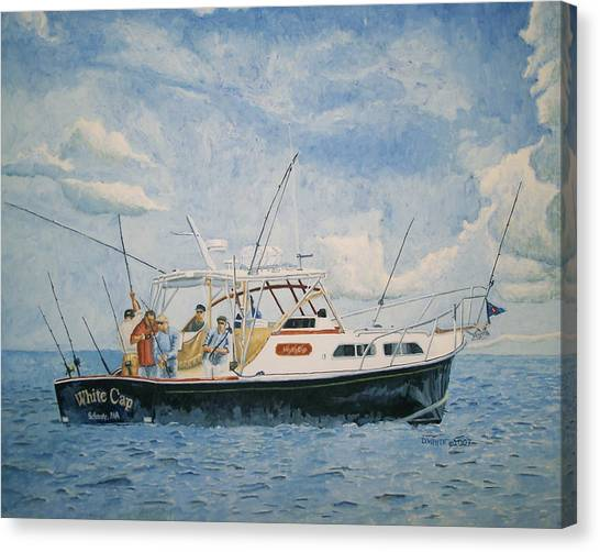 Canvas Print featuring the painting The Fishing Charter - Cape Cod Bay by Dominic White